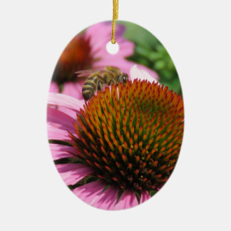 Purple Coneflower with Bee Ceramic Oval Ornament