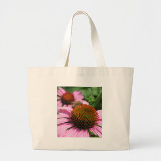 Purple Coneflower with Bee Large Tote Bag