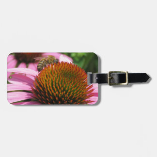 Purple Coneflower with Bee Luggage Tag