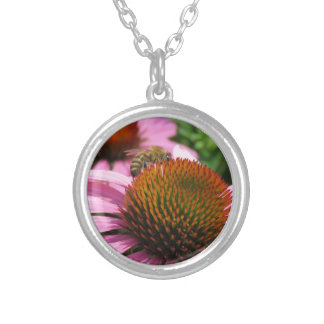 Purple Coneflower with Bee Silver Plated Necklace
