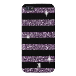 Purple Confetti Glitter & Black Stripes | Monogram iPhone 5 Case