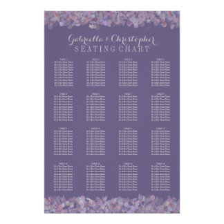 Purple Confetti | Wedding Seating Chart 16 Table