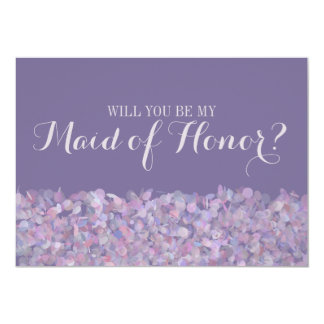 Purple Confetti Will You Be My Maid of Honour Card