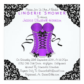 Purple Corset & Black Lace Lingerie Shower Card