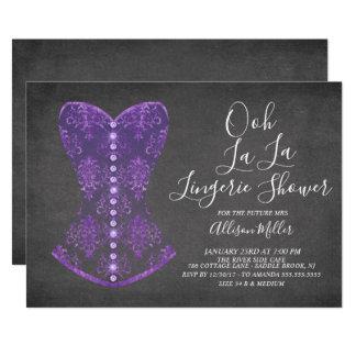 Purple Corset Lingerie Bridal Shower Invitation