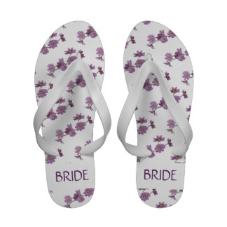 Purple Cosmos Design Wedding Flip Flops Sandals