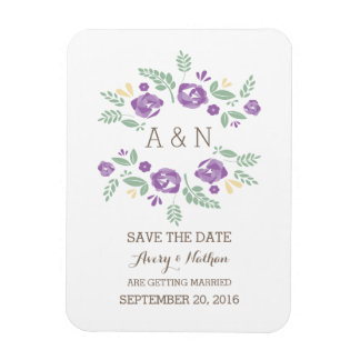 Purple Country Floral Monogram Save the Date Rectangular Photo Magnet