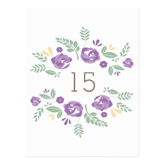 Purple Country Floral Table Number Postcard