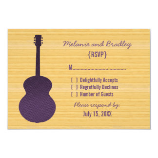 Purple Country Guitar Response Card Personalized Invites