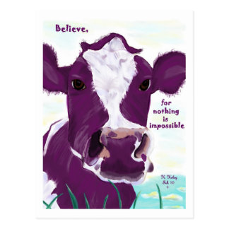 Purple Cow Quite Possibly Contemplating Flight Postcard