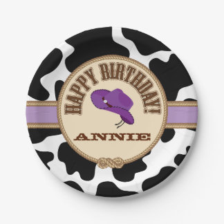 Purple Cowgirl Birthday, Customizable Plates 7 Inch Paper Plate