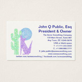 Purple Coyote Wolf Colourful Southwestern Design Business Card