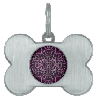Purple Cracked Pattern Pet ID Tag