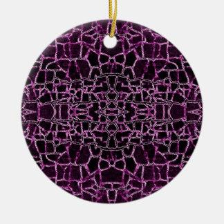 Purple Cracked Pattern Round Ceramic Ornament
