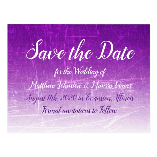 Purple Crackle Personalized Save the Date Postcard