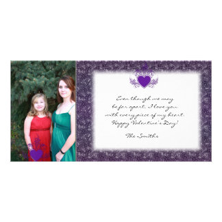 Purple Crackle Valentine Photo Card