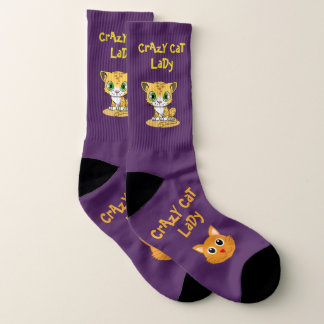 Purple Crazy Cat Lady Large Socks Womens US 10-13