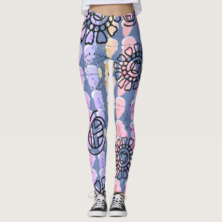 Purple Crazy Legs, abstract floral design Leggings