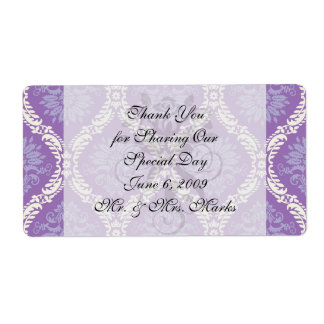 purple cream damask pattern custom shipping labels