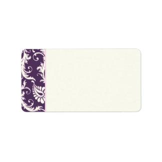 Purple, Cream, Pink Damask Address Label - Blank