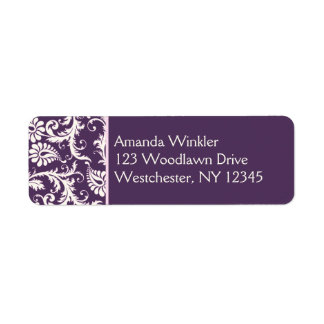 Purple, Cream, Pink Return Address Label
