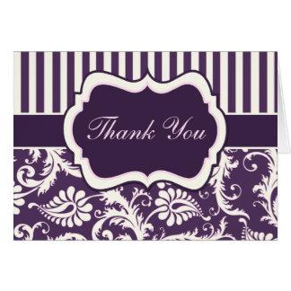 Purple, Cream, Pink Stripe Damask Thank You Card