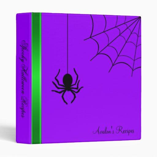 Purple Creepy Spider Halloween Recipe Binder