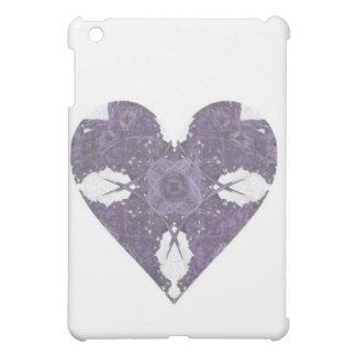 Purple Crochet Look Fractal Art Heart iPad Mini Cover