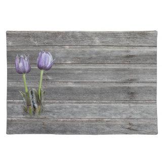 Purple Crocus Flower Weathered Wood Placemat