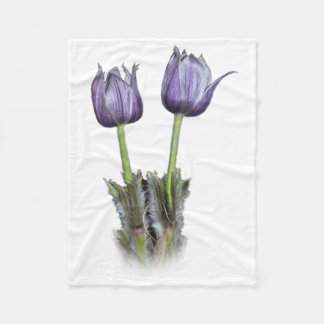 Purple Crocus Flowers Fleece Blanket