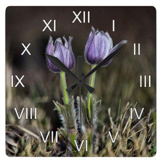 Purple Crocus Flowers Roman Numerals Square Wall Clock