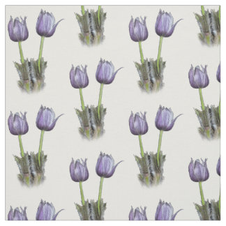 Purple Crocus Wildflowers Fabric
