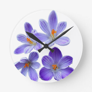 Purple crocuses 02 round clock