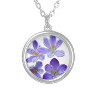 Purple crocuses 02 silver plated necklace