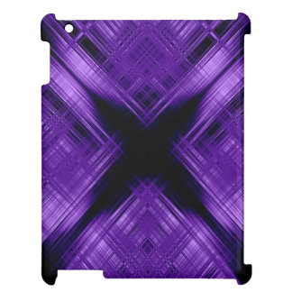 Purple cross and grid iPad case