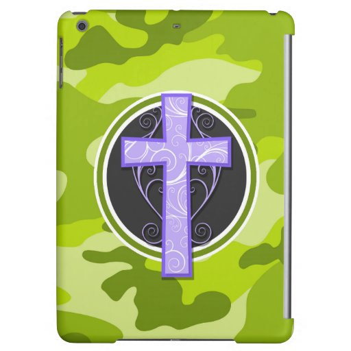 Purple Cross; bright green camo, camouflage iPad Air Covers