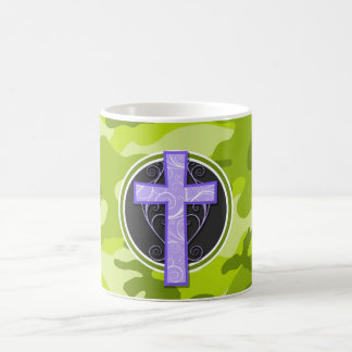 Purple Cross; bright green camo, camouflage Mug