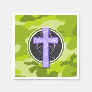 Purple Cross; bright green camo, camouflage Disposable Napkin