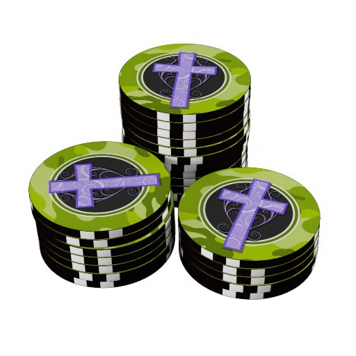 Purple Cross; bright green camo, camouflage Poker Chips