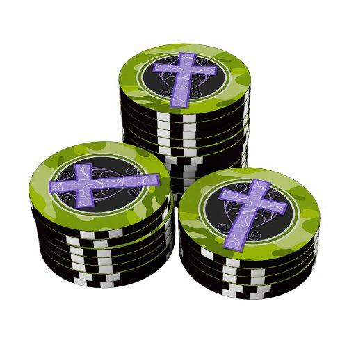 Purple Cross; bright green camo, camouflage Poker Chips