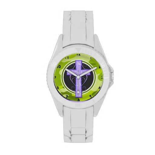 Purple Cross; bright green camo, camouflage Wristwatches
