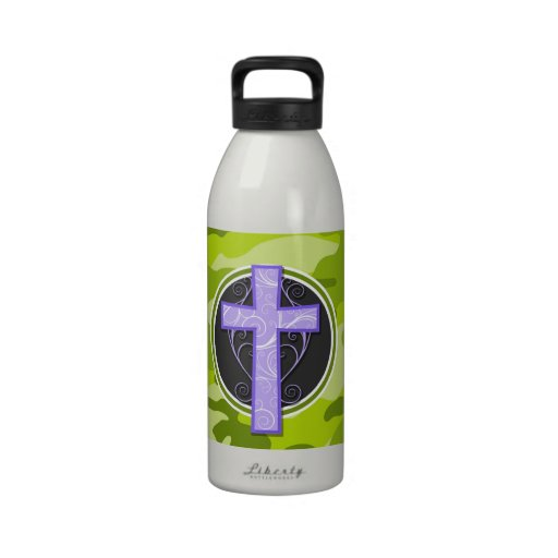 Purple Cross; bright green camo, camouflage Drinking Bottles