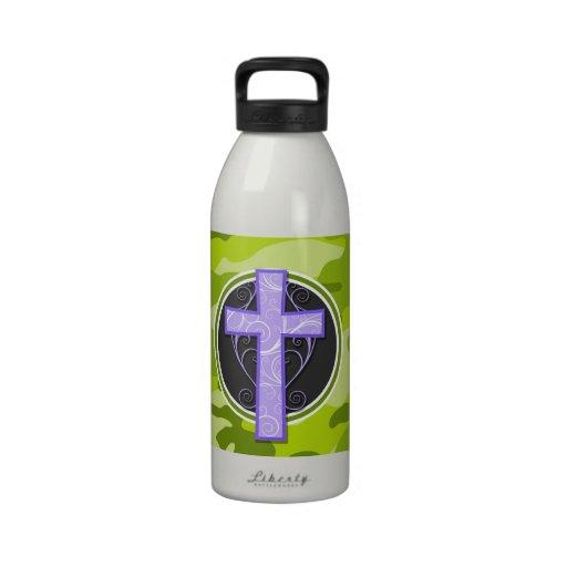 Purple Cross; bright green camo, camouflage Drinking Bottles