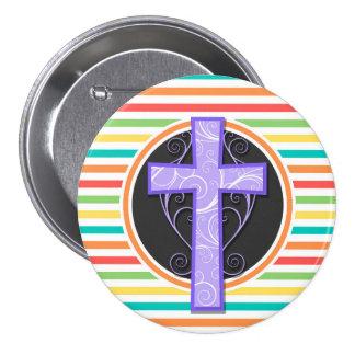 Purple Cross Bright Rainbow Stripes Buttons
