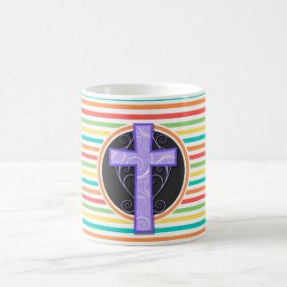 Purple Cross; Bright Rainbow Stripes Mugs