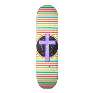 Purple Cross Bright Rainbow Stripes Skate Decks