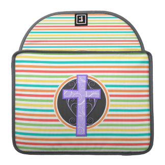 Purple Cross; Bright Rainbow Stripes Sleeves For MacBook Pro
