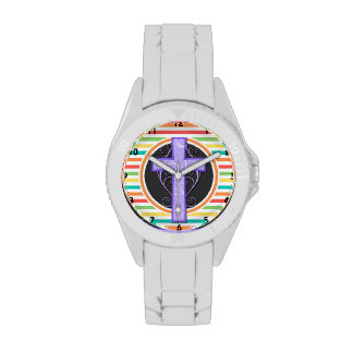 Purple Cross; Bright Rainbow Stripes Wristwatches