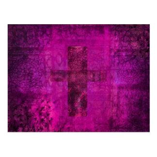Purple Cross Christian Modern Art Postcard