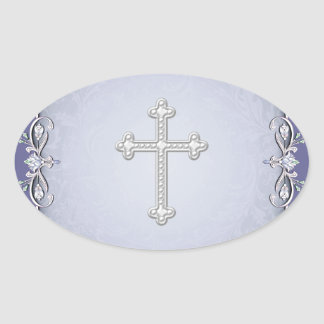 Purple Cross Damask Flower Envelope Seals Stickers